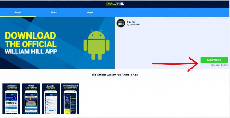 Скачать приложение William Hill на Android